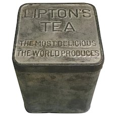 Early Lipton Tea Planter Ceylon tin, rustic Tea tin