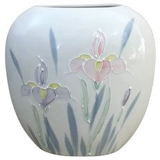 Otagiri Japan Floral Lite hand painted oval floral vase
