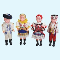 Czechoslovakian Folk Art dolls, set of four Czech dolls,