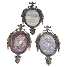 "Ornate Italian metal framed oval floral and mirror wall art 6.5"" x 4"""