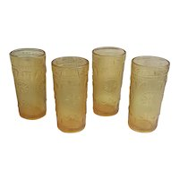 Set of four Brockway Glass Co. American Concord Amber juice glasses