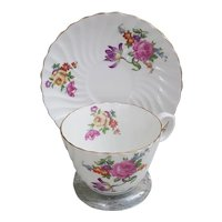 Aynsley CUP & SAUCER England Bone China Pink Yellow Roses Flowers 202