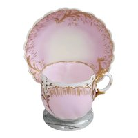 MR France cup and saucer Martial Redon Limoges Pink and Gold cup and saucer