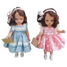 Pair of Nancy Ann Back to school dolls