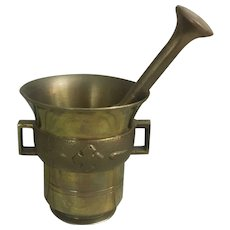 Wonderful Brass Mortar and Pestle stamped Sweden
