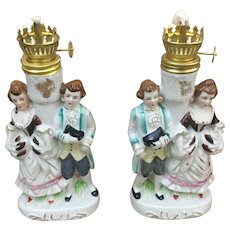 Pair of Del Coronado Nasco Japan Colonial Figurine Oil Lamps