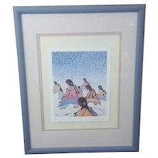 Cecil Youngfox signed print, Native Canadian artwork