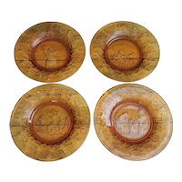 Tiara Exclusives Amber Glass Nursery Rhyme Children's set of four plates