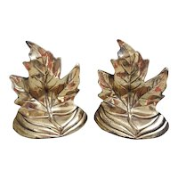 Cast metal Maple Leaf bookends