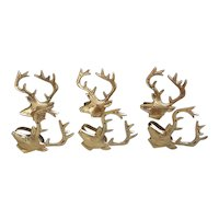 Six Solid Brass Antlered Deer napkin rings made in India