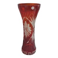 Stunning Hand Made Crystal USSR Ruby Red cut etched glass vase