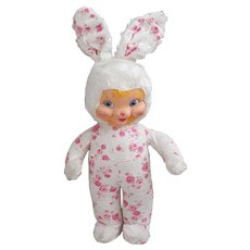 Masked face bunny stuffed doll possible Gund, soft rubber faced bunny doll