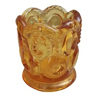 Amber glass moon and stars toothpick holder