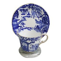 Royal Crown Derby Mikado cup and saucer, blue and white cup and saucer