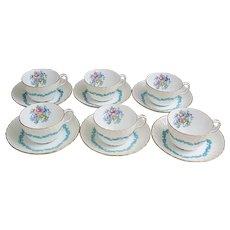 Beautiful set of six Minton Ardmore fine bone China cups and saucers