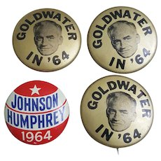 Vintage 1964 campaign pins Goldwater 1964, Johnson Humphrey 1964 political pins