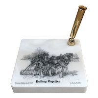 """1997 Montana Marble """"Pulling Together"""" by Kathy Krebbs Horse marble pen holder"""