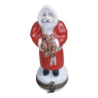 Peint Main Limoges France Santa Claus trinket pill box
