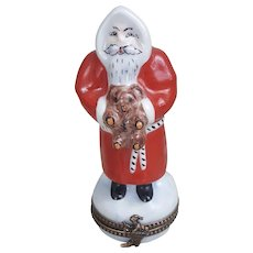 Peint Main Limoges France Santa Claus trinket pill box