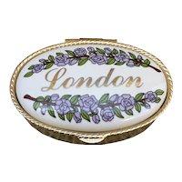 Enamel London gold tone pill box