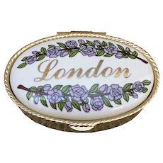 Enamel London gold tone pill box