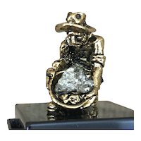 Souvenir Made & Mined in Colorado Pyrite 24K G.P. Miner Figurine