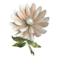 Beautiful Coro pink metal and enamel flower brooch