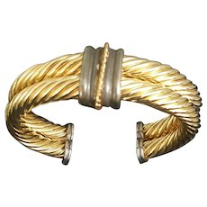 Joan Rivers braided rope cuff bracelet, gold and silver tone bracelet