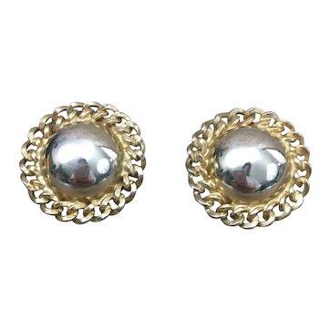 Simple and Elegant Kramer gold tone button earrings