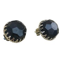 Made in Hong Kong black button earrings