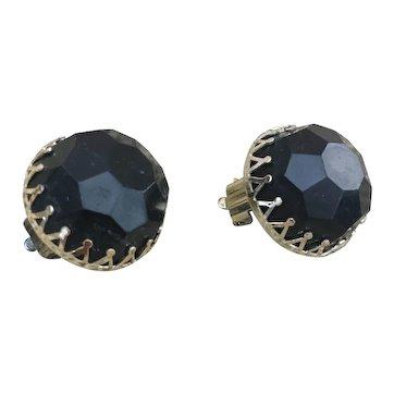 Made in Hong Kong black button earrings