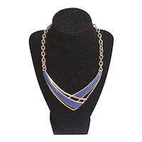 Beautiful light blue enamel Monet geometric necklace