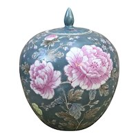 Large Floral Ginger Jar with Lid