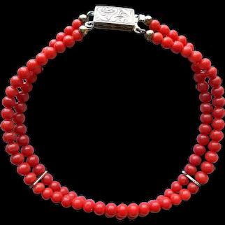 Vintage Genuine Natural Mediterranean Red Coral Two Strands Beaded Bracelet 8'' 10.2 grams Silver 925 Clasp