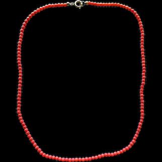 Vintage Genuine Natural Mediterranean Red Coral Beaded Necklace 16.8'' 6.3 grams