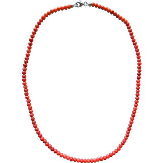 Vintage Genuine Natural Mediterranean Red Coral Beads Necklace 15.2'' 7.5grams Silver 925 Clasp