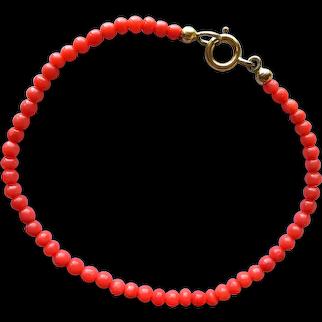 Vintage Genuine Natural Mediterranean Red Coral Beaded Bracelet 7'' 2.4 grams