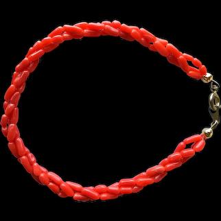 Vintage Genuine Natural Mediterranean Red Coral Three Strands Bracelet 7.2'' 5.2 grams