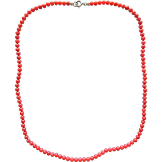 Vintage Genuine Natural Mediterranean Red Coral Round Shaped Beaded Necklace 16.8'' 8.3 grams