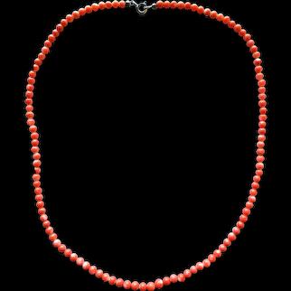 Vintage Genuine Natural Mediterranean Red Coral Round Shape Beaded Necklace 16.8'' 8.4 grams