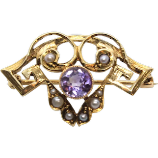 Edwardian 14k Yellow Gold Amethyst and Seed Pearl Brooch