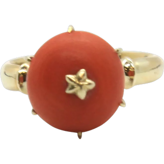 Vintage 14k Yellow Gold Coral Ring