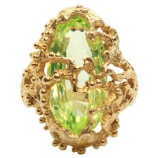 Vintage 14k Yellow Gold Synthetic Green Spinel Ring