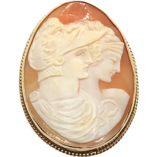 Vintage 10ky Three Face Cameo Brooch