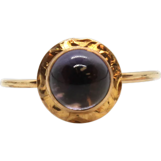 Victorian 14k Yellow Gold Amethyst Stick Pin Conversion Ring