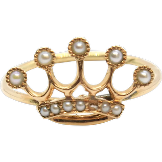 Victorian 14k Yellow Gold Seed Pearl Crown Stick Pin Conversion Ring