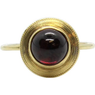 Victorian 14k Yellow Gold Garnet Stick Pin Conversion Ring