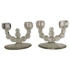 Pair of Imperial Glass Candlewick Candle Holders