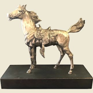 Silver Plate Horse and Saddle Sculpture