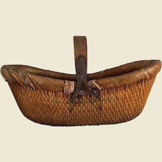 Large Vintage Woven Reed Harvest Basket